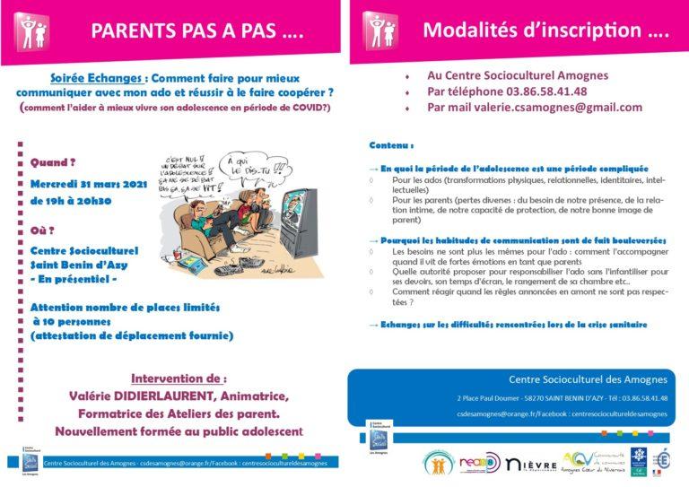 PARENT PAS A PAS – Soirée échange public Ados 31/03/21 à 19h